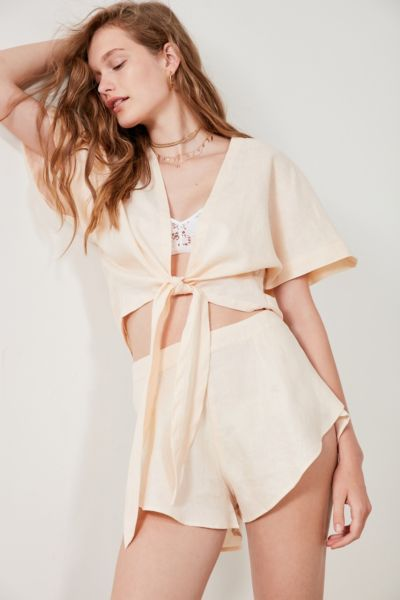 SIR the label Marthe Linen Ruffle Short - Pink XS at Urban Outfitters