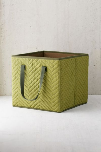 Marsden Quilted Storage Box - Green One Size at Urban Outfitters