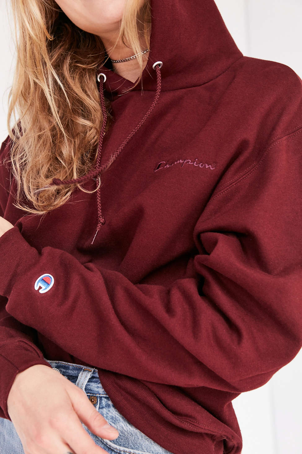 Champion & UO Powerblend Mini Logo Hoodie Sweatshirt   Urban ...