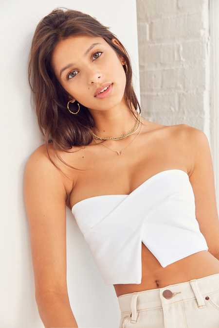 Silence + Noise Crossover Strapless Top