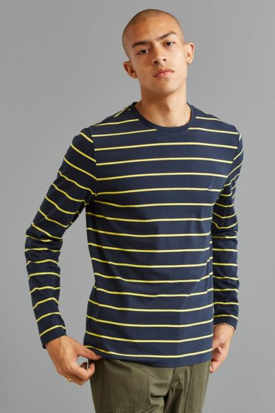 Nautica Striped Long Sleeve Tee - Navy M at Urban Outfitters