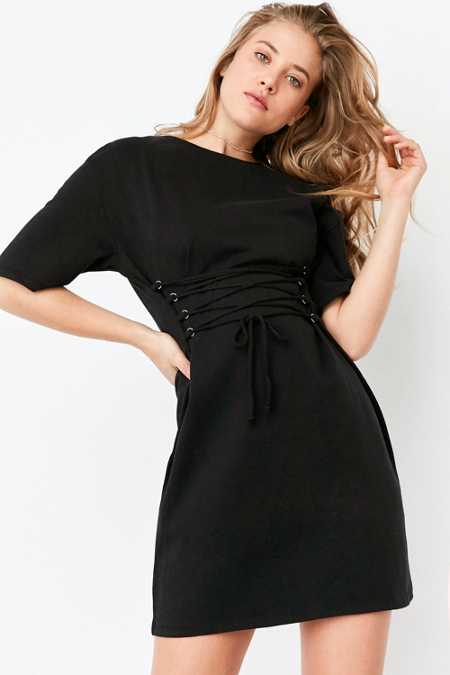 Silence + Noise Lace-Up Corset Front T-Shirt Dress