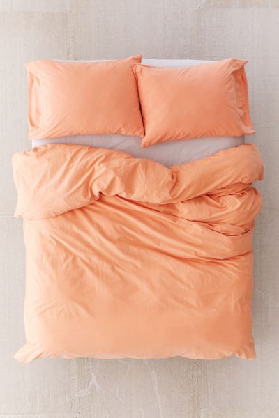 Washed Cotton Duvet Cover - Peach F/Q at Urban Outfitters