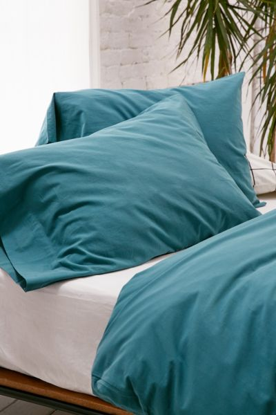Washed Cotton Pillowcase Set - Dark Green One Size at Urban Outfitters