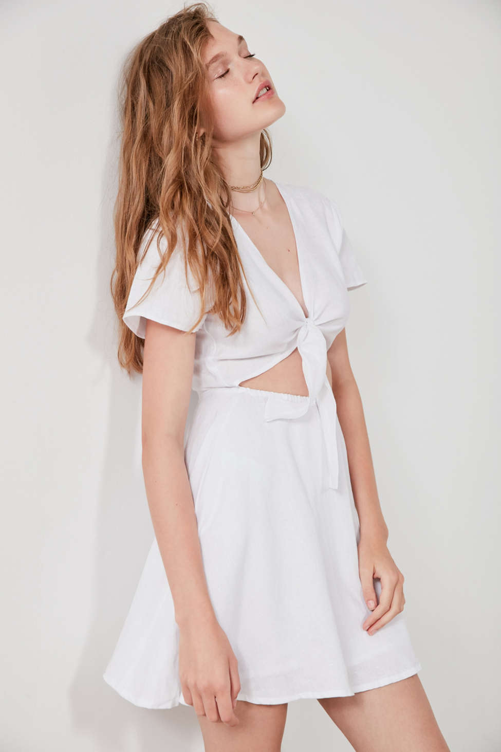 SIR the label Elsa Tie-Front White Linen Dress | Urban Outfitters