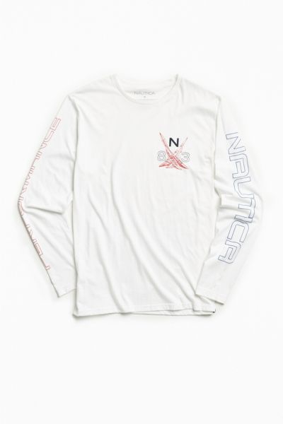 Nautica Performance Long Sleeve Tee - White S at Urban Outfitters