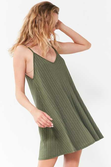 Silence + Noise Wide-Ribbed Knit Slip Dress