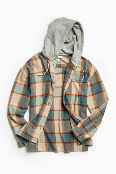 UO Hooded Flannel Button-Down Shirt