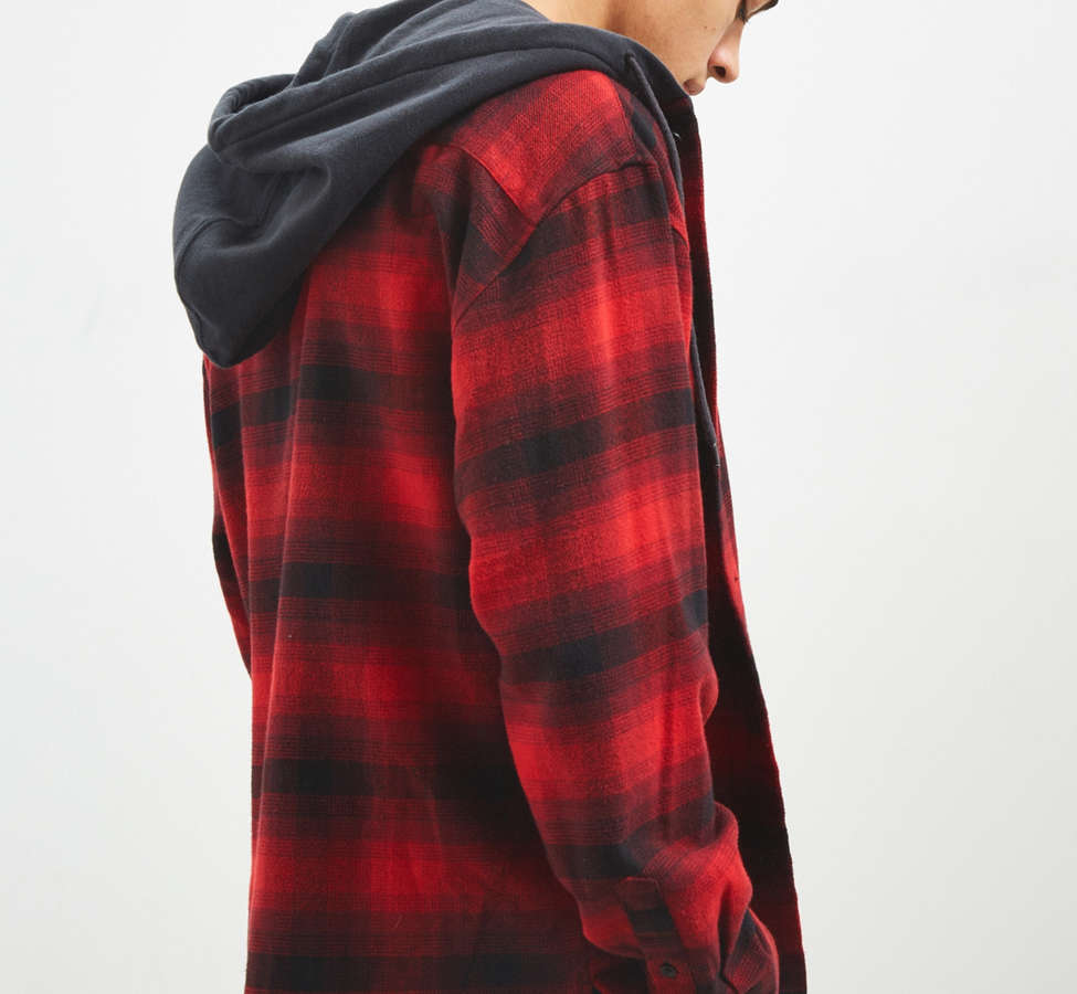 Slide View: 3: UO Hooded Flannel Button-Down Shirt