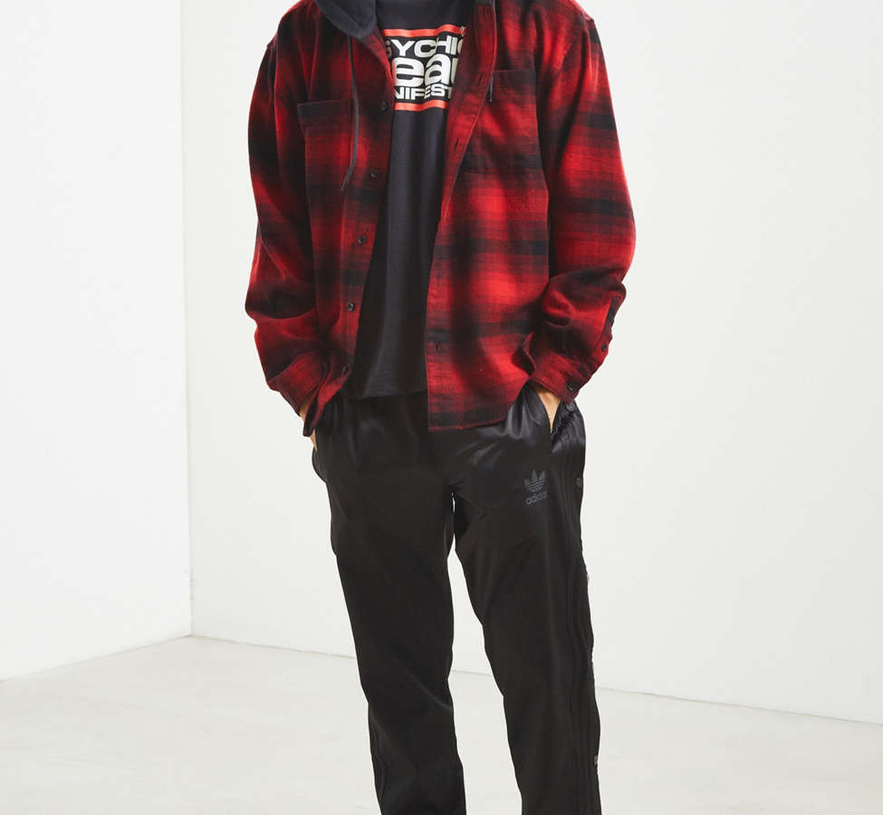 Slide View: 6: UO Hooded Flannel Button-Down Shirt