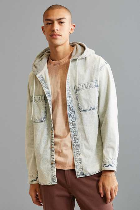 UO Hooded Denim Button-Down Shirt