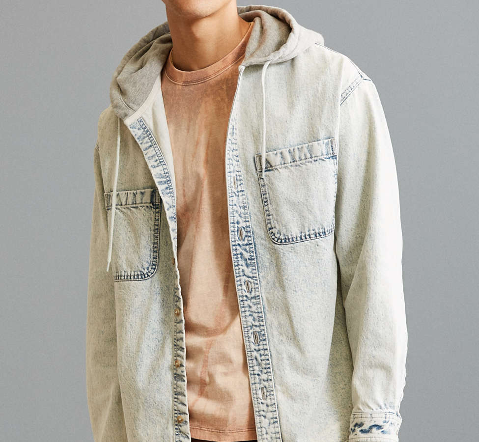 Slide View: 1: UO Hooded Denim Button-Down Shirt