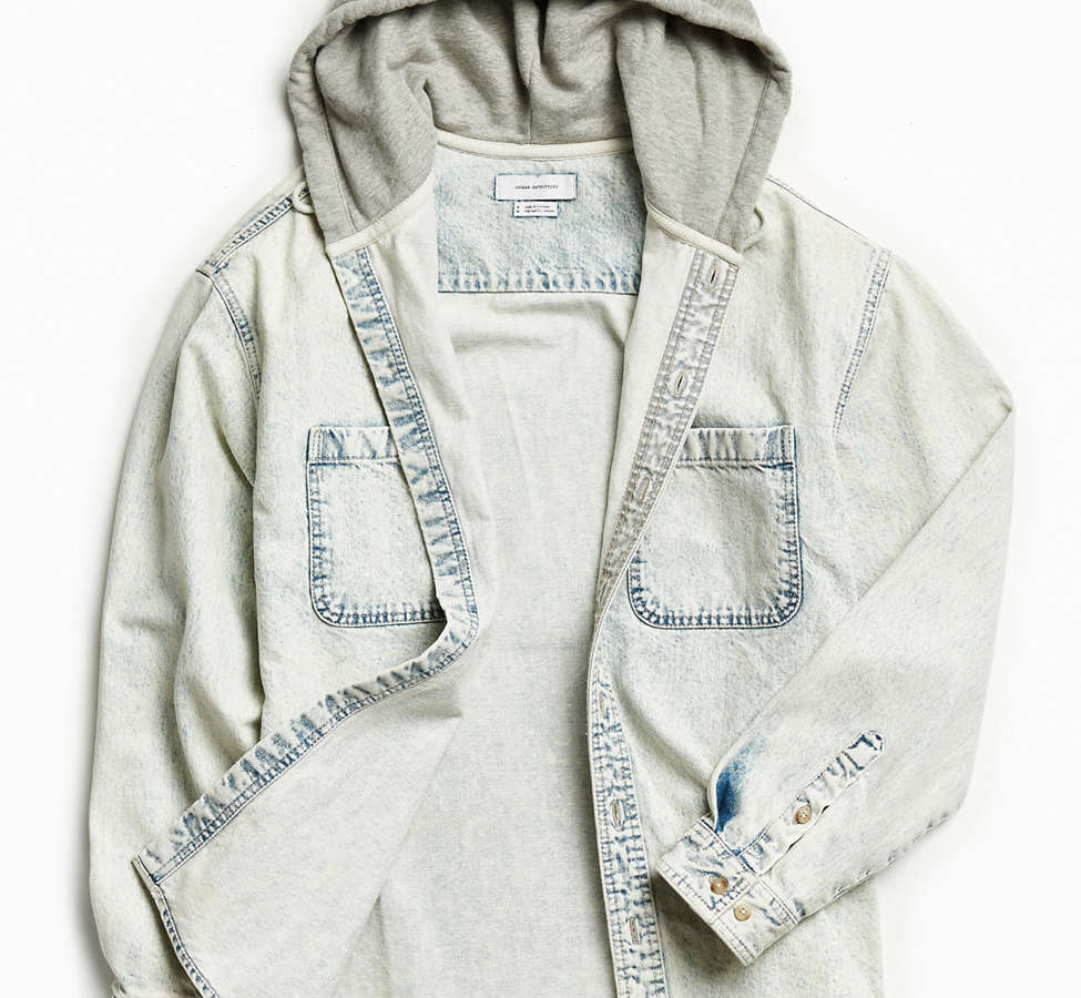 Slide View: 2: UO Hooded Denim Button-Down Shirt