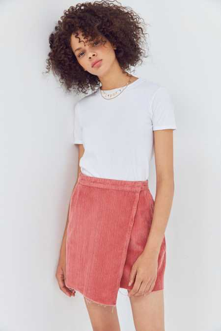 BDG Raw-Edge Corduroy Mini Wrap Skirt