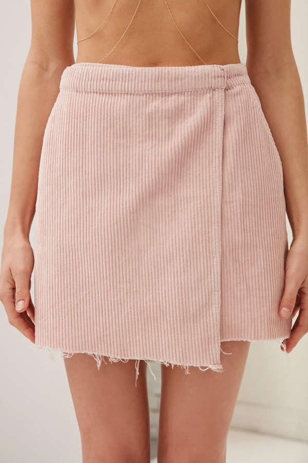 BDG Raw-Edge Corduroy Mini Wrap Skirt | Urban Outfitters