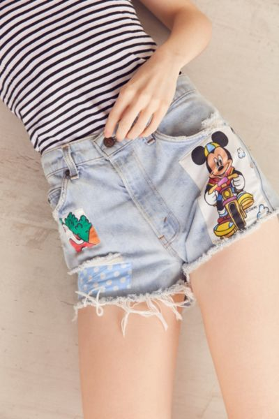 Urban Renewal Recycled Levi's Cartoon Patch Denim Short - Indigo S at Urban Outfitters