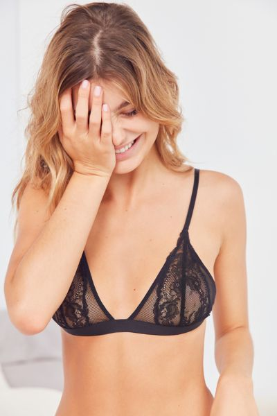 Out From Under Kamaryn Lace Mesh Triangle Bra - Black S at Urban Outfitters