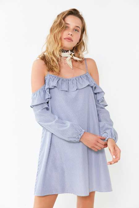 Cooperative Striped Poplin Cold-Shoulder Frill Dress