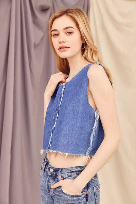 Urban Renewal Recycled Frayed Denim Cropped Top