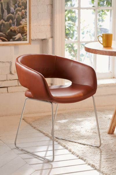 Stockton Faux Leather Dining Chair Set - Brown One Size at Urban Outfitters