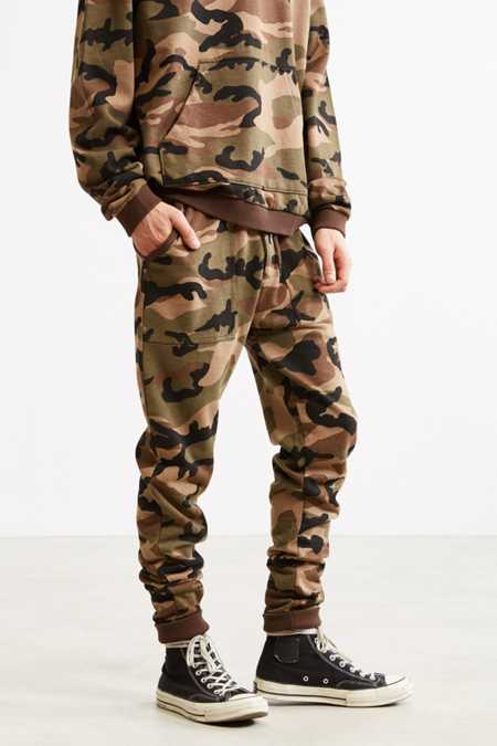 UO Camo Skinny Stacked Knit Jogger Pant