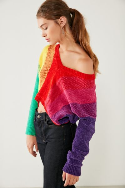 Silence + Noise Rainbow Chenille Sweater - Multi XS at Urban Outfitters