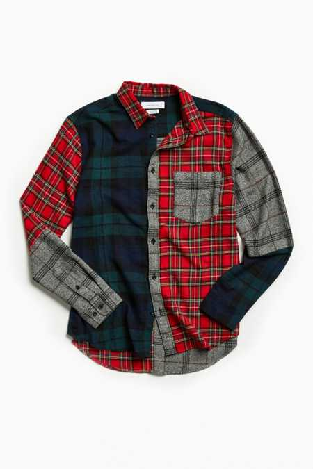 UO Patchwork Plaid Flannel Button-Down Shirt