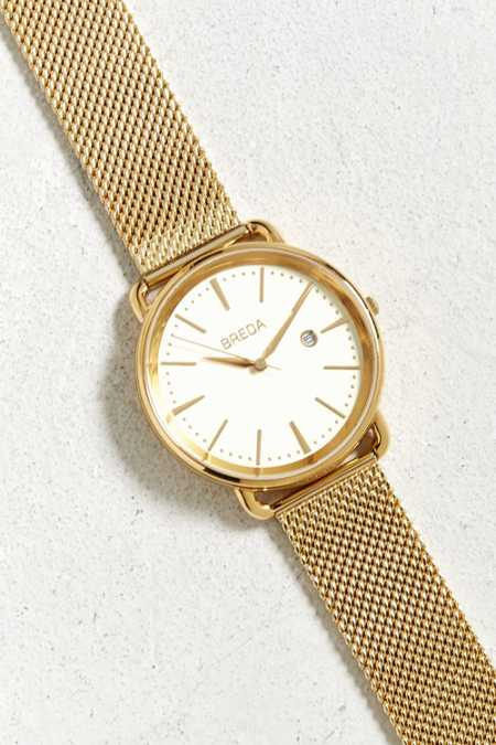 Breda Linx Gold Mesh Strap Watch