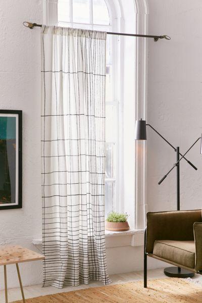 Gradient Grid Window Curtain - Black + White 84