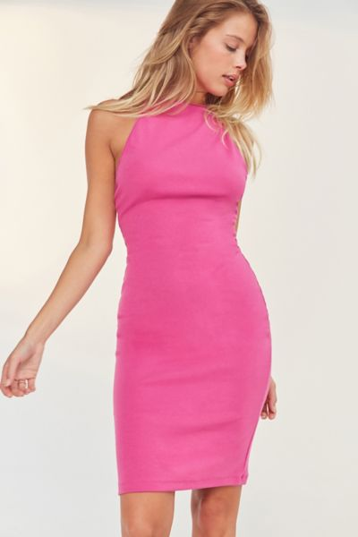 BDG High-Neck Cross Back Bodycon Midi Dress - Pink M at Urban Outfitters