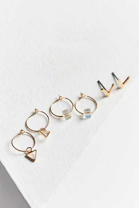Triangle Post + Hoop Earring Set