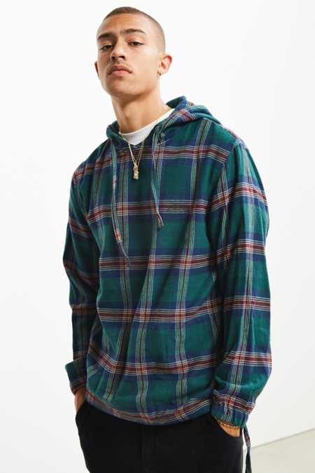 Stussy Plaid Flannel Hooded Poncho