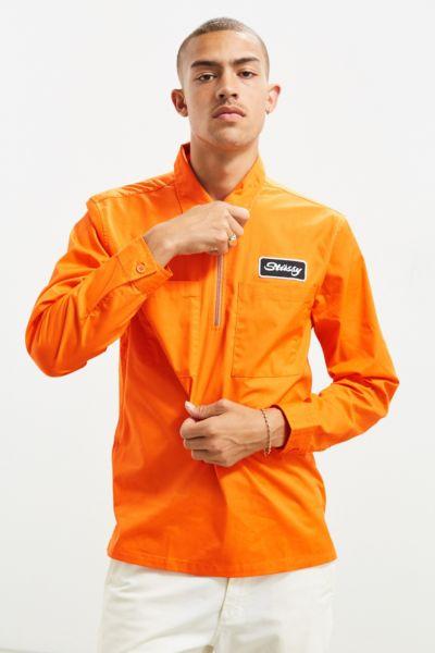 Stussy Half-Zip Work Shirt - Orange M at Urban Outfitters