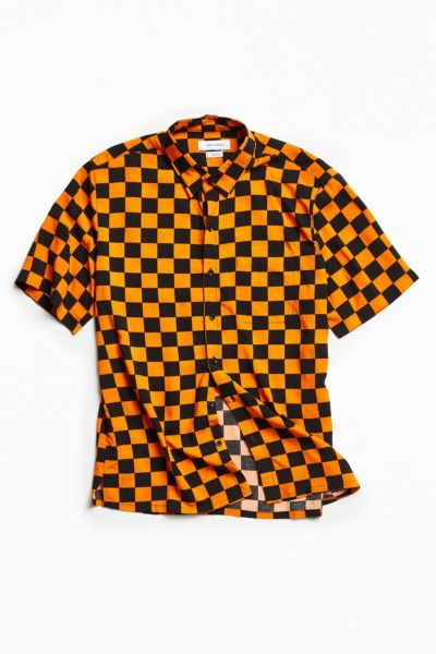 UO Checkered Rayon Short Sleeve Button-Down Shirt - Orange XS at Urban Outfitters