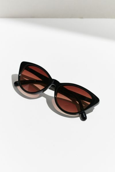Slim Retro Cat-Eye Sunglasses - Black One Size at Urban Outfitters