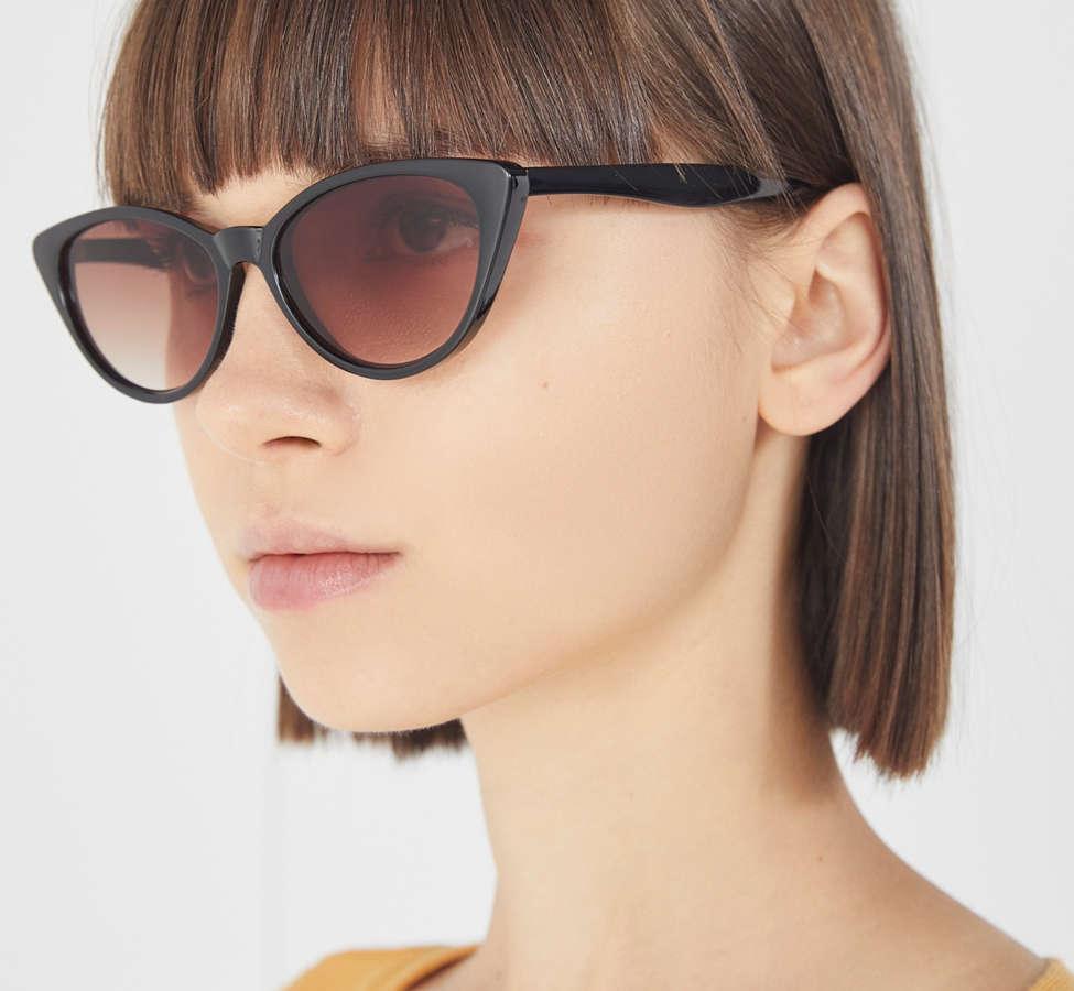Slide View: 2: Slim Retro Cat-Eye Sunglasses