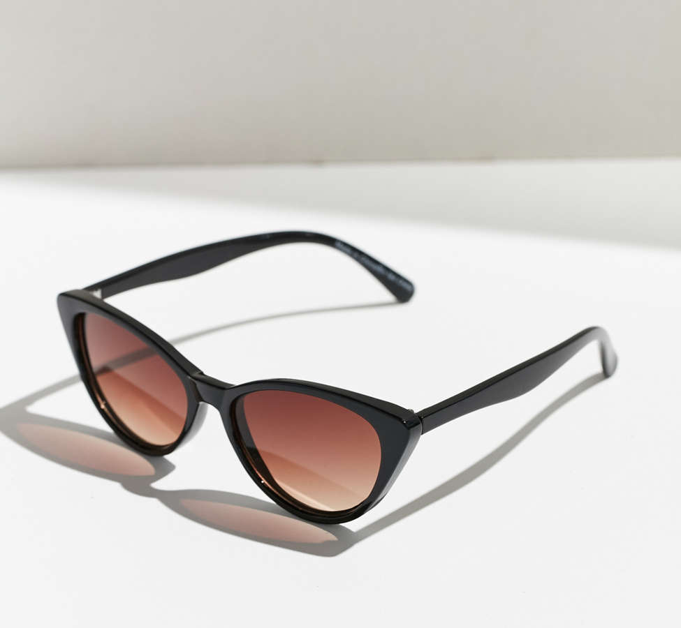 Slide View: 3: Slim Retro Cat-Eye Sunglasses