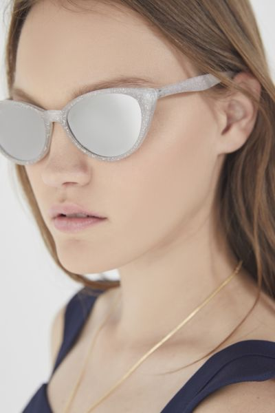 Slim Retro Cat-Eye Sunglasses - Silver One Size at Urban Outfitters