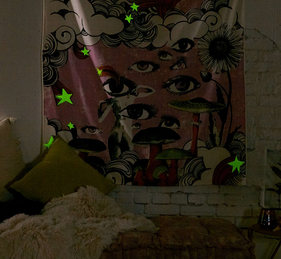 Slide View: 4: Glow-In-The-Dark Collage Tapestry