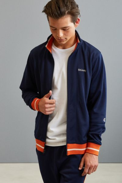 Stussy Poly Track Jacket - Navy S at Urban Outfitters