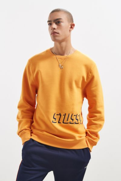 Stussy Embroidered Shadow Applique Crew Neck Sweatshirt - Orange S at Urban Outfitters