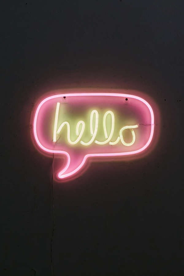 Hello neon sign urban outfitters for Neon signs for bedroom