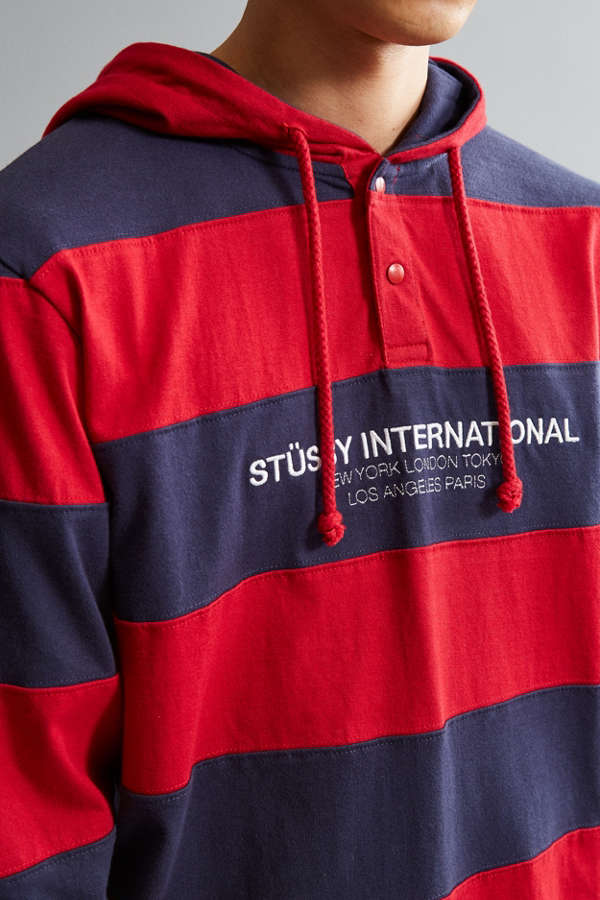 Slide View 2 Stussy Stripe Embroidered Hooded Rugby Shirt