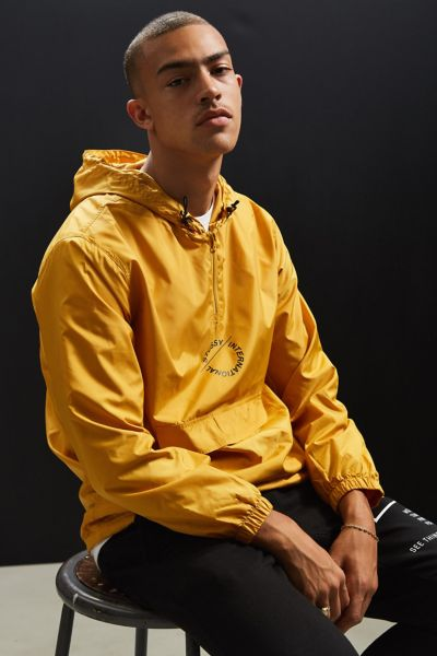 Stussy Nylon Popover Jacket - Gold M at Urban Outfitters