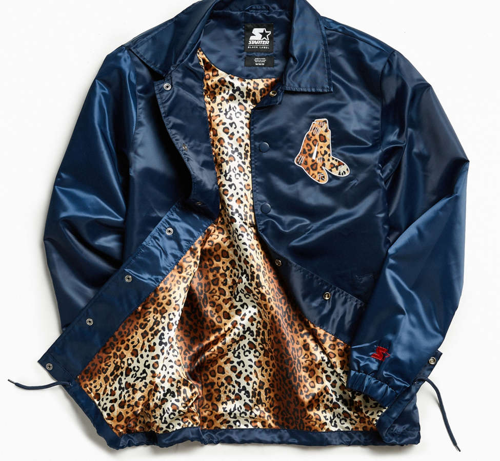 Slide View: 1: Starter Black Label + UO Boston Red Sox Cheetah Coach Jacket
