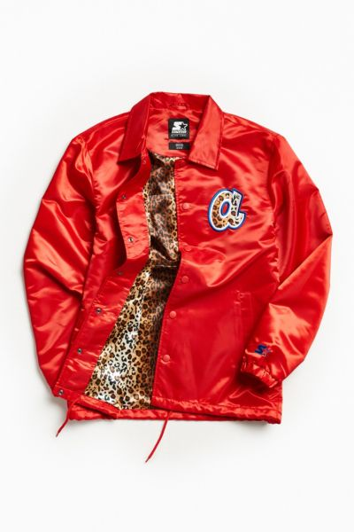 Starter Black Label + UO Atlanta Braves Cheetah Coach Jacket - Red Multi XS at Urban Outfitters