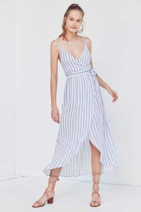 Cooperative Striped Maxi Wrap Dress