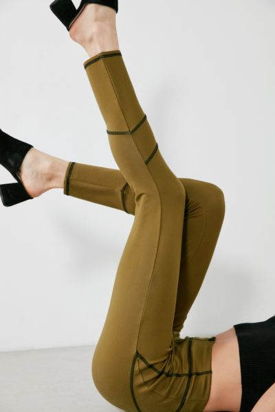 Silence + Noise Caroline Seamed Skinny Pant - Olive XS at Urban Outfitters