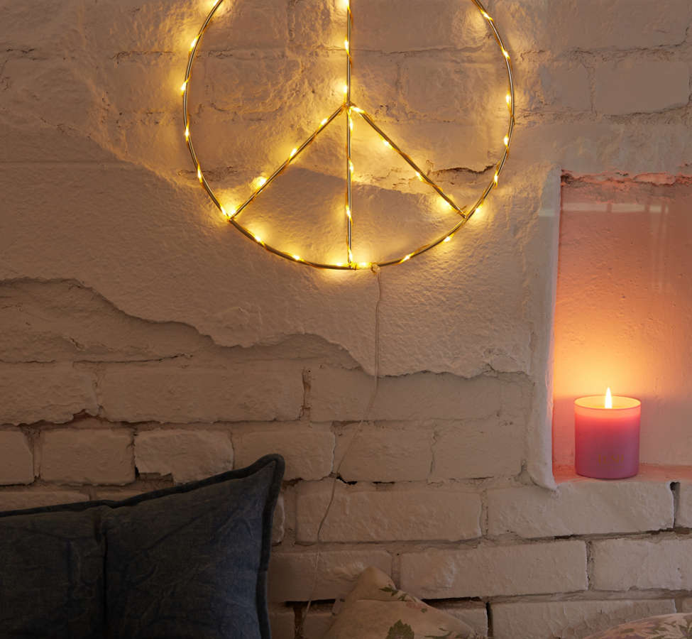 Slide View: 1: Peace Sign Light Sculpture