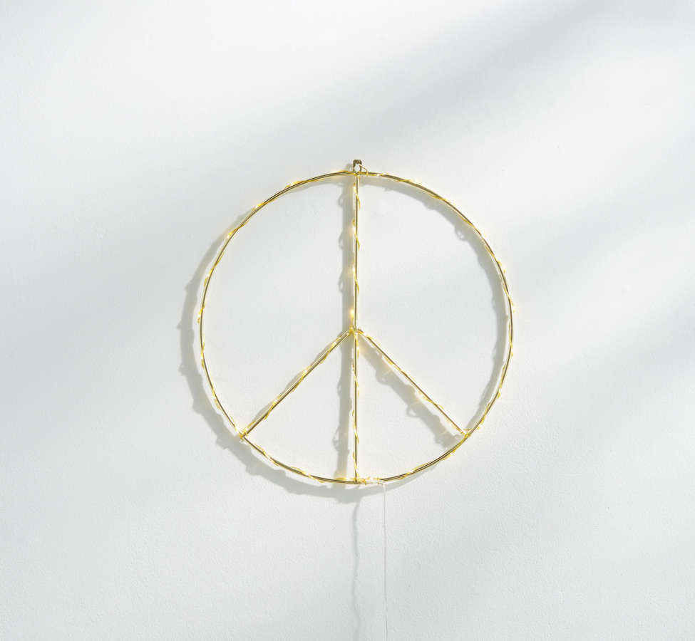 Slide View: 2: Peace Sign Light Sculpture